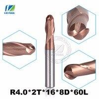 2pcs Lot R4 0 2T 16 8D 60L 8mm HRC0 60 YK25A 2 Flute Ball Head