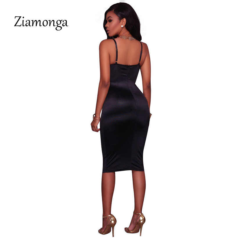 a8517a2367c ... Ziamonga Summer Women Bandage Dress Ladies Knee Length Midi Bodycon  Bustier Dress 2018 Elegant Sexy Night ...
