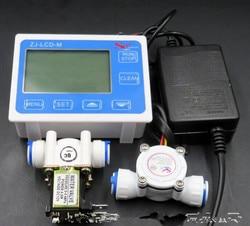 2019 Flow Sensor + ZJ-LCD-M Flow Meter Controller + Soleniod Ventiel + Power Charger Lcd Display Voor Water Vloeibare Meting 3/8 Size