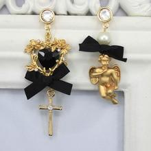 Новое поступление модные в стиле барокко, с бантом, для куклы персик крест Асимметричная преувеличенный серьги 0360