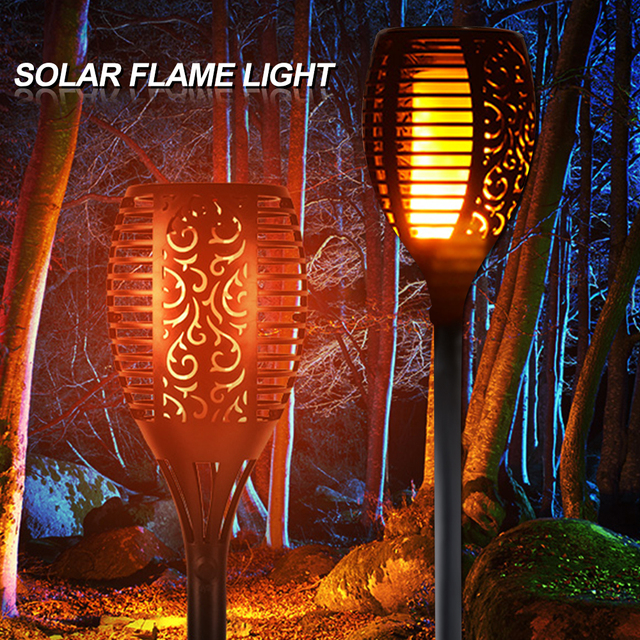 LED Solar Flame Lamps Flickering Path Lawn Lamp LED Torch Lights Realistic Dancing Flame Effect Light Bulb Outdoor Garden Decor