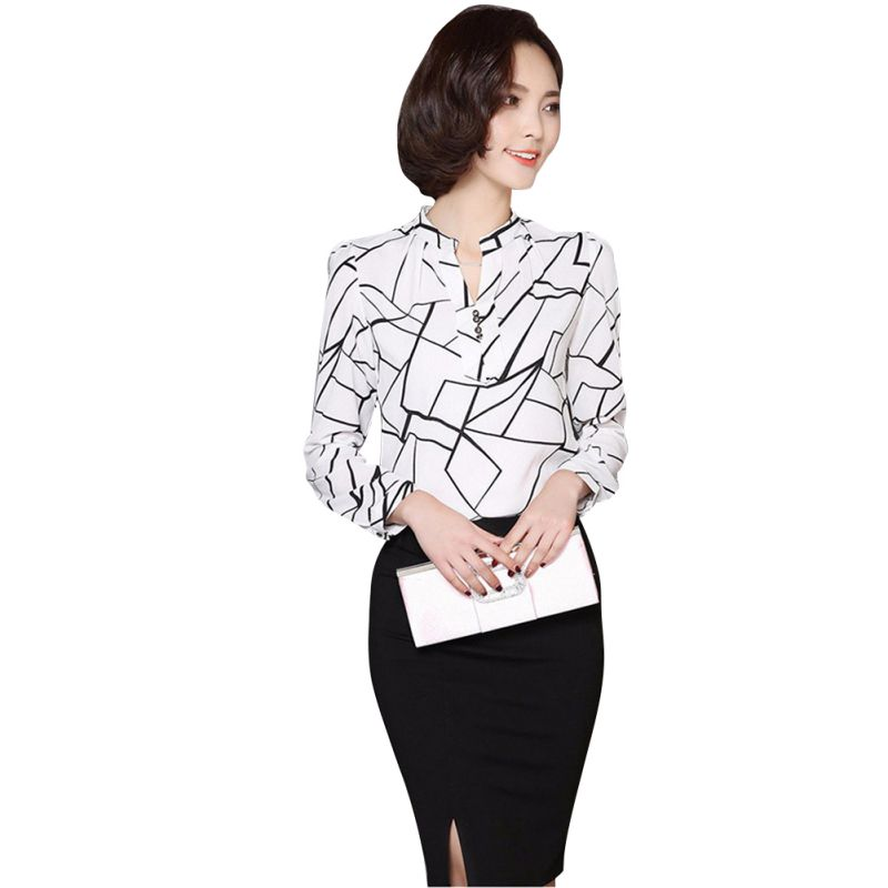 77b36919 2017 Summer Women Ladies Office Blouse Chiffon Tops Work Wear Button Down  Shirt Tees Casual White Black-in Blouses & Shirts from Women's Clothing on  ...