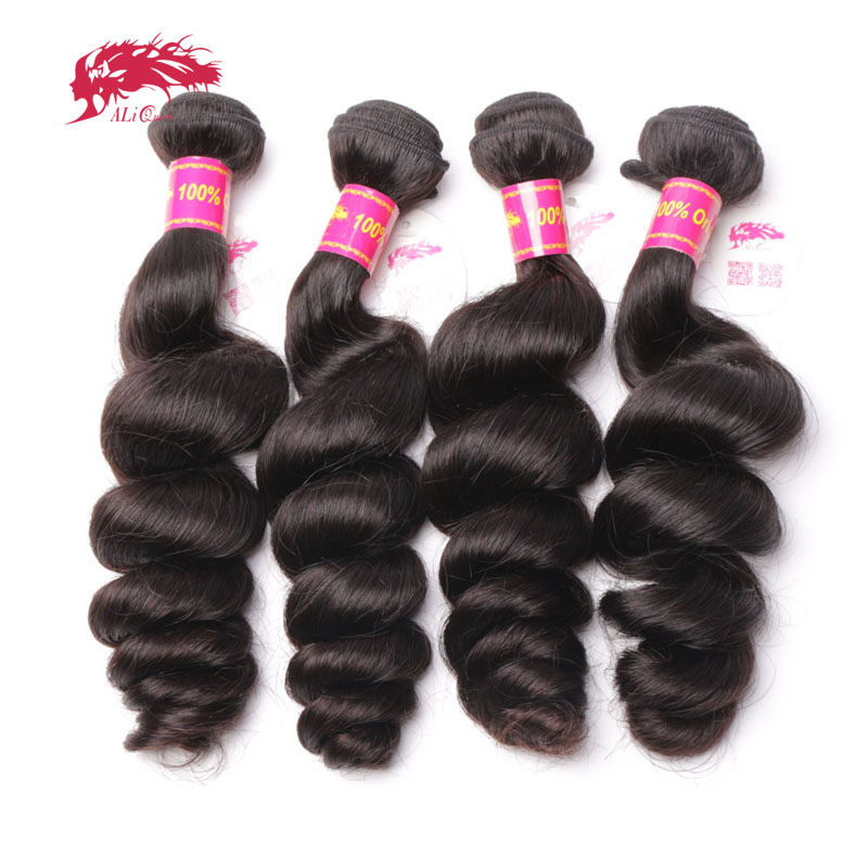 Ali Queen Products Brazilian Virgin Loose Wave 4 Bundles 100% Human Hair Weave Can Colored 613# For Hair Salon Free Shipping