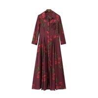 CFYH 2017 Women Vintage Floral Plaid Long Dress Pleated One Piece Dress Long Sleeve Turn Down