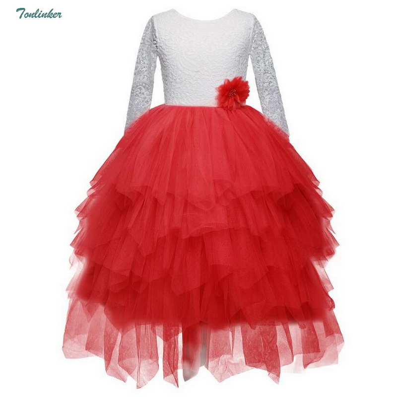 Wedding Flower Girl Dresses Tiered Long Sleeves Lace Tutu Kids Gowns