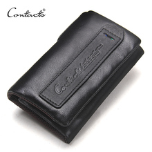 CONTACT'S genuine leather men key wallet small male purse with coin pocket key holder man pouch housekeeper high quality keyring