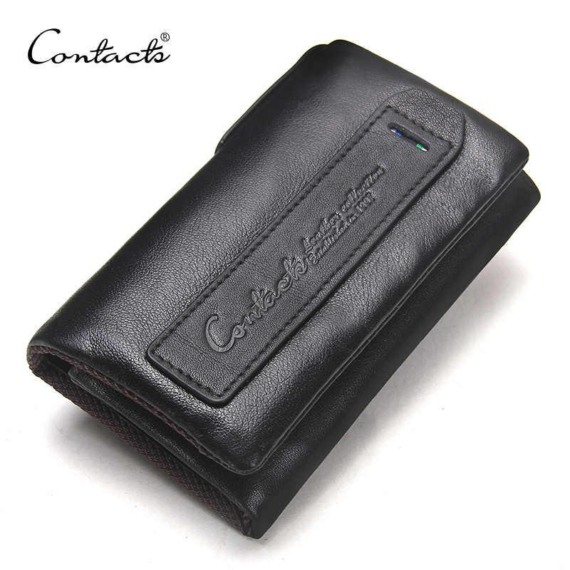 Contact's couro genuíno dos homens chave carteira pequena bolsa masculina com moeda bolso titular chave homem bolsa governanta alta qualidade chaveiro