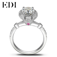 EDI Royal Crown Fairy Tale Diamond Wedding Ring 14k 585 White Gold Natural Red Ruby Rings