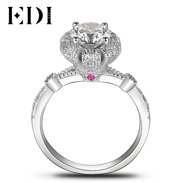 EDI Royal Crown Fairy Tale Diamond Wedding Ring 14k 585 White Gold
