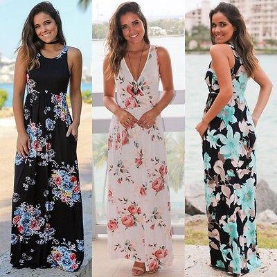 Womens Boho Summer Casual Floral Sundress Sleeveless Party Beach Long Maxi Chiffon Dress