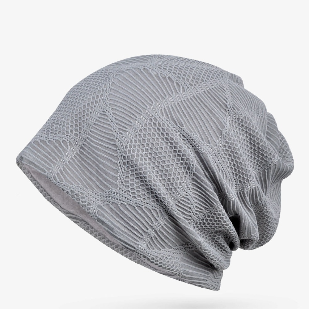 New Spring Summer Thin Turban Caps Men Womem Hat Mesh Breathable   Skullies     Beanies   Casual High Quality