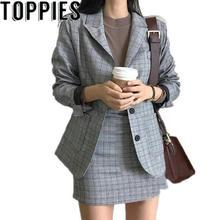 Весенние корейские модные женские клетчатые блейзеры, костюмы для офисных леди, формальные винтажные клетчатые блейзеры, куртки, мини-юбки, комплекты из 2 предметов