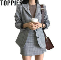 2019 Spring Korean Fashion Women Plaid Blazer Suits Office Lady Formal Vintage Check Blazer Jackets Mini Skirt 2 Pieces Sets