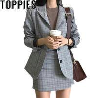 2019 Spring Korean Fashion Women Plaid Blazer Suits Office Lady Formal Vintage Check Blazer Jackets Mini Skirt 2 Pieces Sets