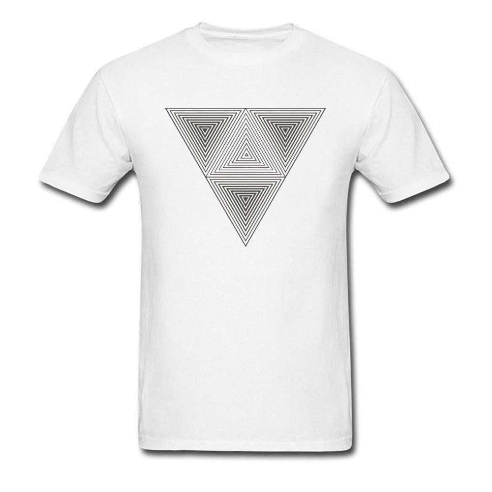 Man T-Shirt Optical Illusion T Shirt Hipster Triangle Print Tshirt Black White Art Geometric Design Tops Tees Cotton Clothes
