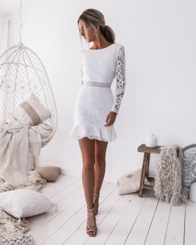 Women White Lace Long Sleeve <font><b>Dresses</b></font> Backless Maxi night Party Package buttocks <font><b>Dress</b></font> <font><b>bodycon</b></font> <font><b>Sexy</b></font> Ladies <font><b>Dress</b></font> image