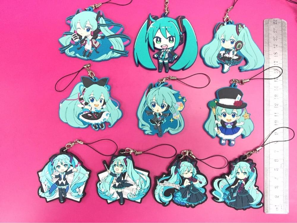 10 pcs/lot Anime Hatsune Miku Phone strap/Keychain pvc Figure Pendant toys gift