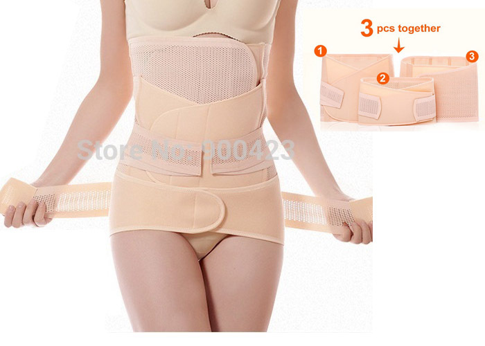 (3pcs) Stomach / hip / Waist cincher corset Breathable Elasticity slim shaper postpartum belly wraps support girdle for woman