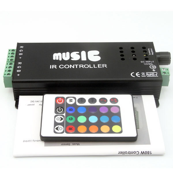 Music sound sensor RGB IR controller 12V DC 10A 144w for led strip light rope lighting and other device
