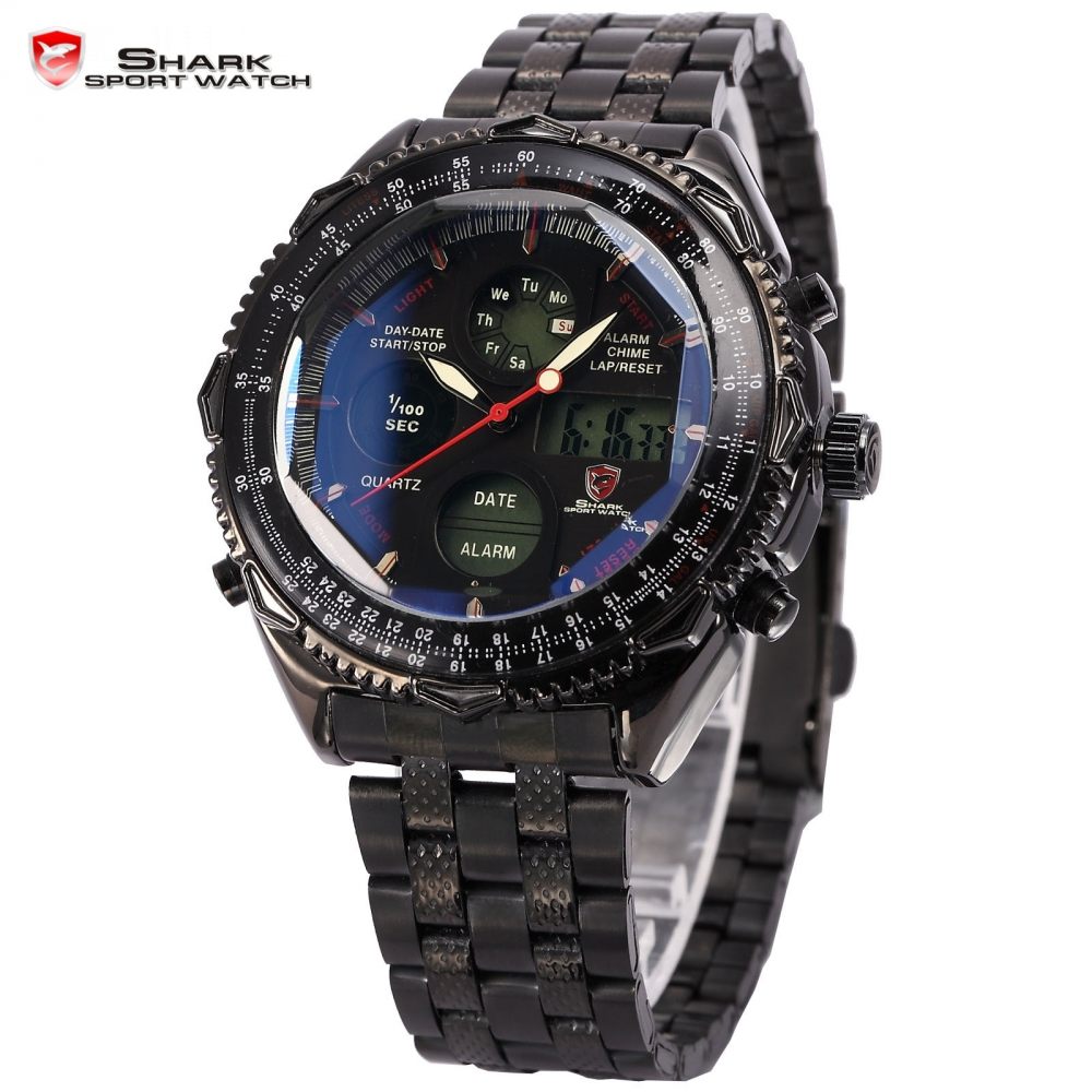 com buy shark sport watch digital lcd stainless steel com buy shark sport watch digital lcd stainless steel strap relogio masculino black wristwatches quartz homme military men clock sh116 from