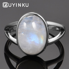 GUYINKU Classic 925 Sterling Silver Vintage Moonstone Rings For Women Gemstone Jewelry Anniversary Gifts