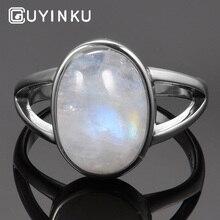 GUYINKU Classic 925 Sterling Silver Vintage Moonstone Rings