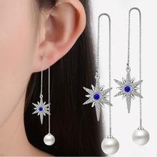 ANENJERY – boucles d'oreilles longues en argent Sterling 925 pour femme, bijoux de mariage, perles, Zircon AAA, forme hexagonale, étoile, S-E289