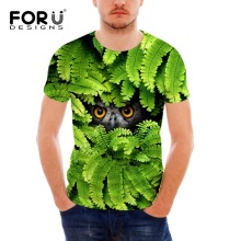 FORUDESIGNS 2017 New Trendy Hot sale Mens t-shirt,men Short Sleeve fashion t shirt for men,brand t-shirt cool Tree Wolf Tiger