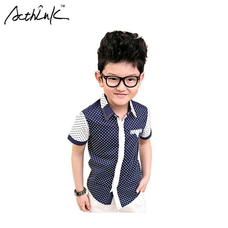 ActhInK New Retail Boys Polka Dot Dress Shirts Brand Cotton Patchwork Boys Short Sleeve Formal Wedding Shirts Boys Clothing,C113