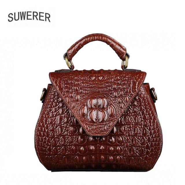 fbe12846bca6 Genuine Leather Women s handbags Trend crocodile pattern small square bag  Fashion handbag Shoulder bag Messenger bag