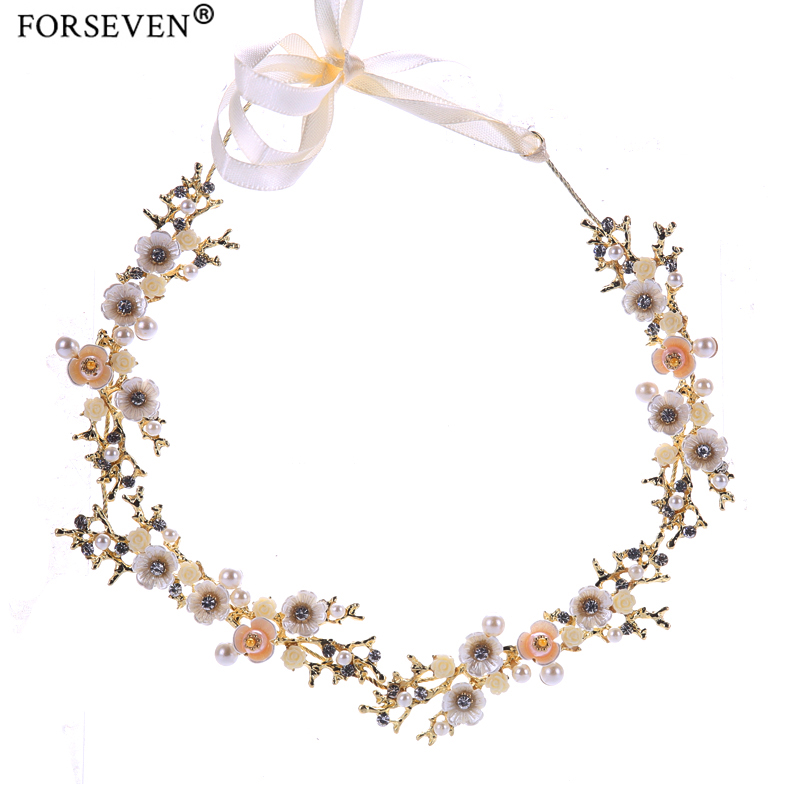 New Vintage Gold Flower Crystal Pearl Headband Wedding Headpieces Hair Jewelry Handmade Women tiara Bride Hair Accessories FD564