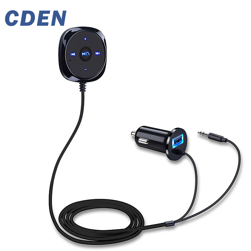 CDEN Handsfree Bluetooth Car Kit MP3 Player For Car USB Charger Support For Siri 3.5mm Aux Bluetooth Carkit