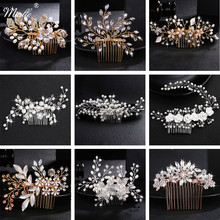 Miallo Wedding Crystal Peals Hair Combs Bridal Hair Clips Accessories Jewelry Handmade Women Head Ornaments Headpieces for Bride(China)