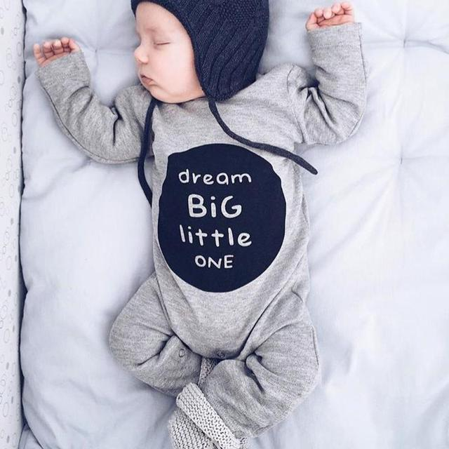Newborn Toddler Baby Boys Kids Cotton Long Sleeve Romper Big Dream Letter Print Gray Jumpsuit Outfits Clothes