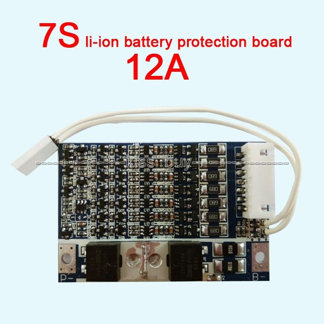 7S cell 12A 25.9V li-ion BMS PCM 18650 li-ion lithium battery protection board With Balance MOS  battery charge and discharge