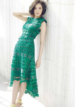 цены Free Shipping Fashion Hot Sale Star Style Lace Hollow-out Flower Embroidery Irregular Long Dress Green