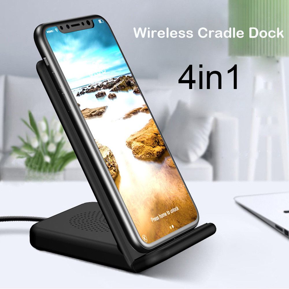 2018New For iphone X / 8 Fast Wireless Cradle Dock Desk Holder Charger Adapter For Samsung S9 Plus with Micro or Type-C USB