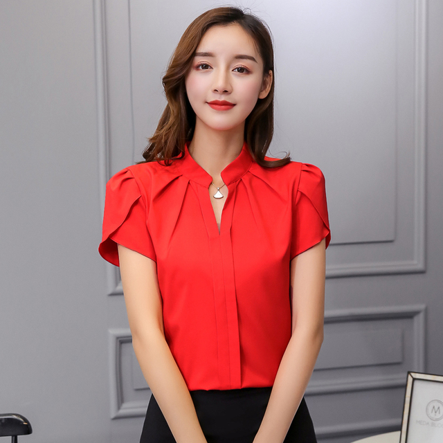 Women Body Blouse Shirt Short Sleeve V Neck