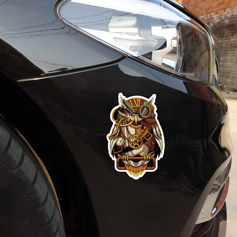 YJZT 10 5CM*16 1CM Stylish Mechanical Pirate Owl PVC High Quality Car  Sticker 11-01315