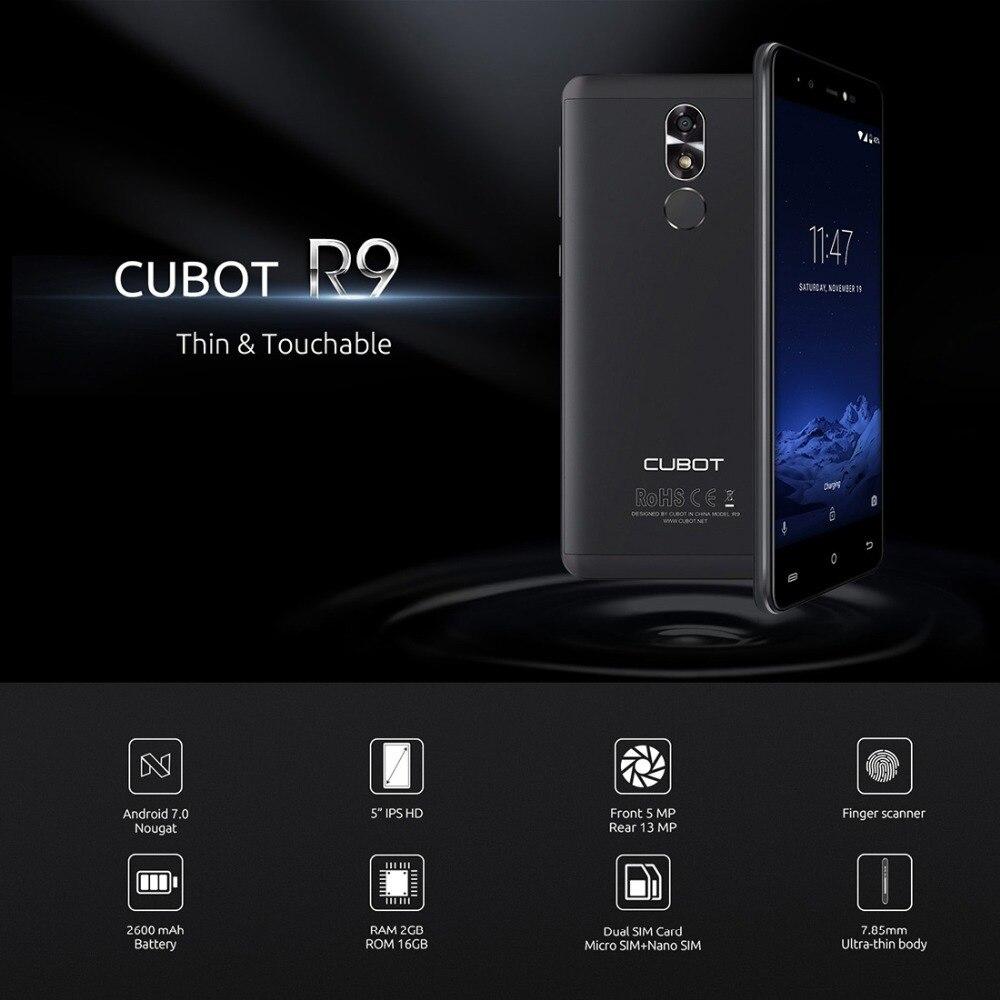 CUBOT R9 MTK6580A смартфон 3G Android 7,0 5,0 ips 1280x720 HD Экран 4 ядра 2 ГБ + 16 ГБ 13.0MP Камера сотовый телефон со сканером отпечатков пальцев