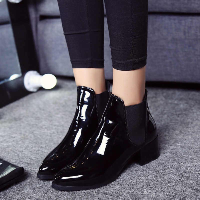 Kış Alçak Topuk OL Sivri Burun Çizmeler Moda Kadın Elastik Patent Deri Slip-On Boots feminino