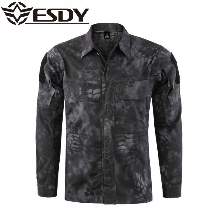 ESDY tactique militaire camouflage chemise hommes en plein air pêche chasse vêtements respirants résistant chemise randonnée vêtements de cyclisme haut homme