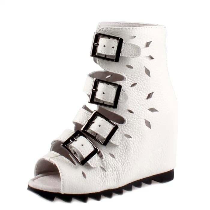 Горячая 2016 женщины лето сапоги сандалии лифт скрытый клин высокие каблуки высокой платформе моды рим гладиатор открытым носком женская обу