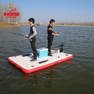 Image 3 - DWF דיג צף מים פלטפורמה ללבוש עמיד מתנפח אוויר סיפון Drop תפר Dock + משוטים + יד  משאבת עבור 1 3 אדם