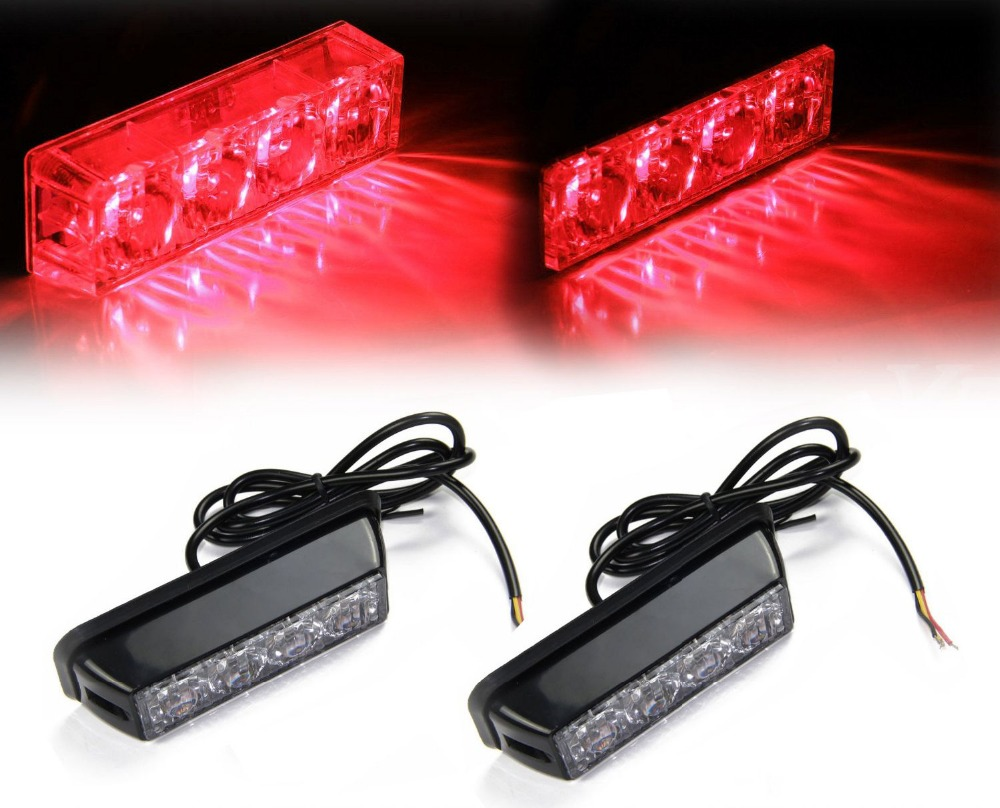 CYAN SOIL BAY 2x 4 LED Red Waterproof LED Warning Hazard Emergency Beacon Flash Strobe Signal Light for Truck SUV cyan soil bay 240 led red car police emergency beacon harzard magnetic flash strobe light bar