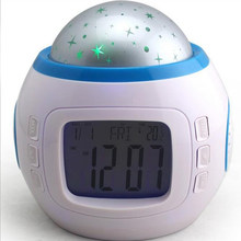 Alarm Clocks Children Sleeping Sky Star Night Light Projector Lamp Bedroom Alarm Clock Snooze Multifunction Clock HHY1(China)