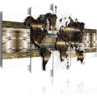 5 Pieces Wall Art World Map Painting Canvas Art Paintings Vintage Home Decor Print Pictures For