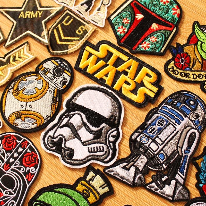 DIY Star Wars Patch HOOK LOOP แพทช์ปักสำหรับเสื้อผ้าเหล็กบนแพทช์เสื้อผ้ายุทธวิธีทหารป้ายลาย