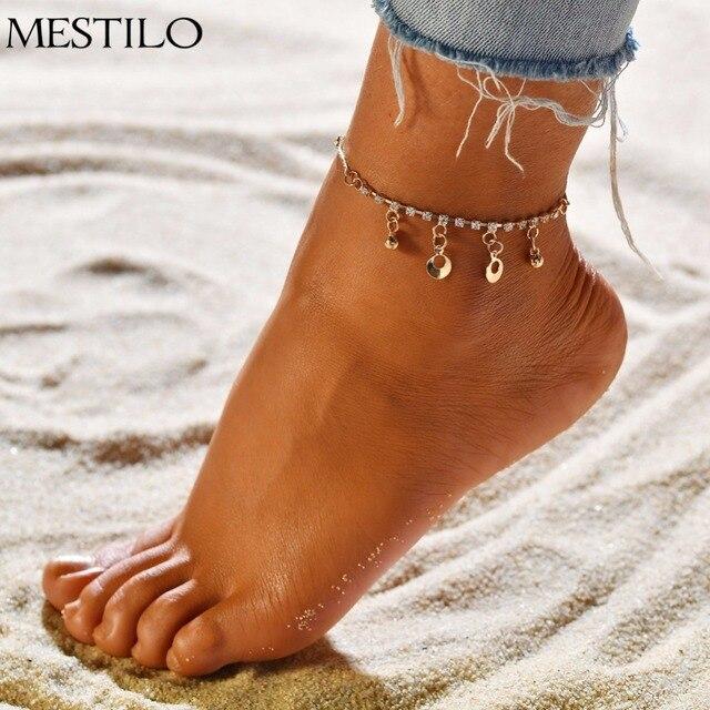 f109ea0bd MESTILO Boho Tassel Coins Rhinestone Charm Ankle Bracelets Gold Anklet  Tobillo Foot Leg Jewelry Barefoot Beach