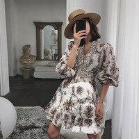 2019 Vacation Beach Dress Women Vintage V neck Lantern Sleeve Floral Print Casual Boho Dress Summer Vestidos